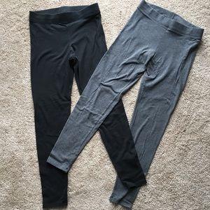 VS pink black and gray leggings.